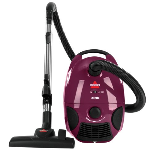 Bissell Zing Bagged Canister Vacuum, Maroon, 4122 - Corded,Maroon Bagged