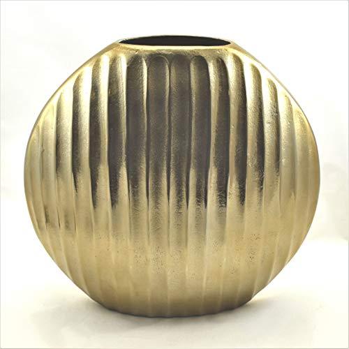 Colmore Bodenvase Vase Bronze Gold Rund Metall Gerippt 36 x 13 x 35 cm
