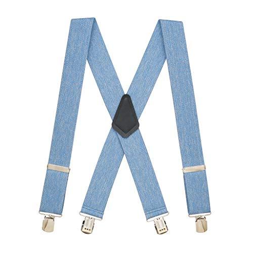 SuspenderStore Men's DENIM 2-Inch Wide Pin Clip Suspenders