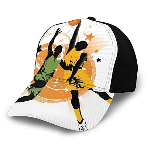 Gorra de béisbol para papá de tamaño ajustable para correr entrenamientos y actividades al aire libre Imagen de dos jugadores de baloncesto en un juego climatizado, estrellas en el fondo impresión