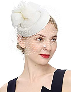 Cizoe Fascinator Hair Clip Pillbox Hat Bowler Feather Flower Veil Wedding Party Hat Tea Hat