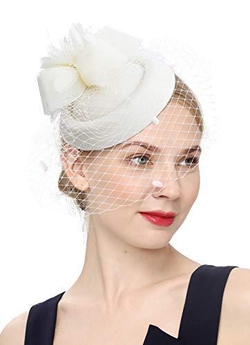 Cizoe Fascinator Hair Clip Pillbox Hat Bowler Feather Flower Veil Wedding Party Hat Tea Hat (1-Beige)