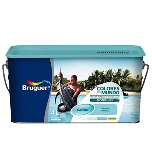 Bruguer 177102 Pintura paredes y techos, Caribe turquesa suave, 4 litros