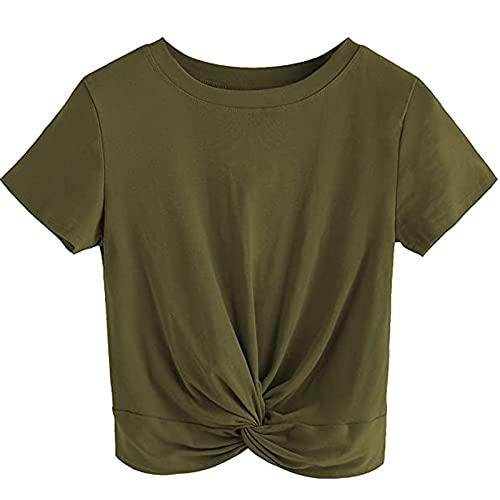 Camisetas y blusas para mujer, moda para verano, sin mangas, camiseta informal con cuello redondo, para...