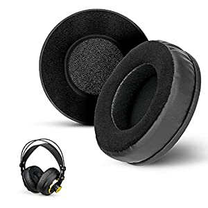 Brainwavz Round Hybrid Memory Foam Earpad - Black PU/Velour - Suitable For Large Over The Ear Headphones