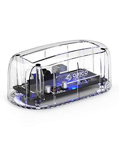 ORICO USB 3.0 Base de Conexión Disco Duro, Estación de Acoplamiento para 2.5/3.5 Pulgadas HDD/SSD, Soporta hasta 8TB y LED Indicador, Transparente