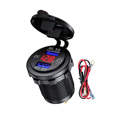 RJJX 12 V 24 V Dual QC3.0 USB Cargador de coche con interruptor táctil, voltímetro LED, adaptador de corriente impermeable para camión, SUV, motor marino (Nombre del color: A)