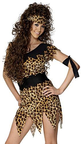 Smiffys-28600X1 Disfraz de Mujer cavernícola y marrón, Estampado de Leopardo, con túnica, cinturón, Banda para el Pelo y el Brazo, Color, XL-EU Tamaño 48-50 (Smiffy