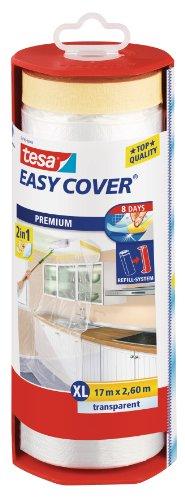 tesa Easy Cover Film PREMIUM - Telo Protettivo per Pittura 2 in 1 con Biadesivo in carta - Ricaricabile con Dispenser - 17 m x 260 cm