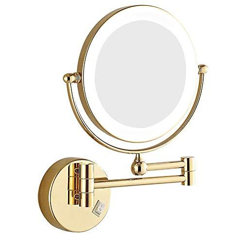 LOHOX 8 Pouces LED Miroirs de Maquillage, Double Face Miroir Mural Miroir cosmétique 3X / 5X / 7X Grossissement pour Une Salle de Bains Familiale, Un Hôtel