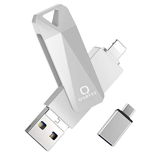 QARFEE Chiavetta USB 32GB per iPhone iPad Memoria USB Memory Stick 3.0 Flash Drive 4 in 1 Pen Drive per Dispositivi con iOS/Android/USB/Micro USB/Tipo C Porta(Grigio)