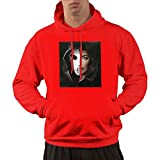 Photo de Men's Cotton Pullover Warm Hoodie Sweatshirt Print Angerfist Cotton Hooded Shirts with Pocket,Red,3X-Large