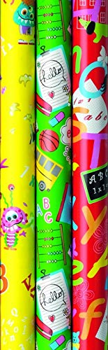 3 Rollen Premium Geschenkpapier, Schulanfang, Einschulung, Back to School, 2m x0,7m