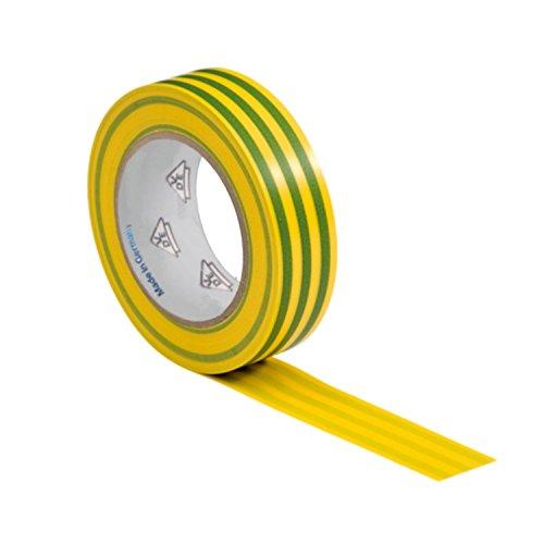 AUPROTEC 1 Rolle VDE Isolierband Isoband Elektriker Klebeband PVC 15mm x 10m DIN EN 60454-3-1 Farbe: gelb/grün