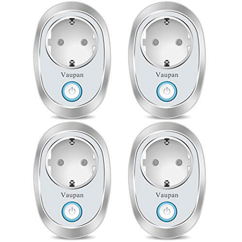 Vaupan - Mini enchufe WiFi compatible con Alexa, Google Home e IFTTT, 16 A, mando a distancia con función de temporizador, no requiere hub, solo soporta red de 2,4 GHz