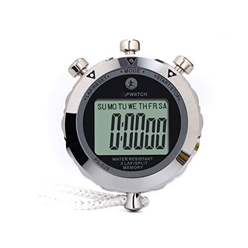 Jiansheng01-ou Cronómetros, Pantalla Grande, Fuente Grande, cronómetro Deportivo, cronómetro de Carrera única de Metal (Plateado, 74 * 60 * 15 mm), botón Grande y Flexible