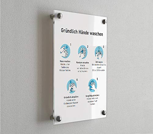 Sandwich Schild mit individueller Beschriftung 300x200mm Kindergartenschild Kanzleischild mit 4 Messing-Befestigungsset Firmenschild Praxisschild aus Acrylglas Silber - matt, Querformat