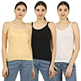 Nestos Women's Cotton Camisoles (Ice-slip-WHBLBG-400-90, Beige, White and Black, Large)