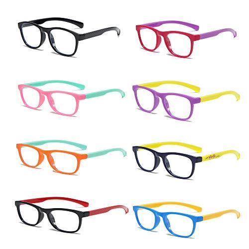 8PCS Kids Blue Light Blocking Glasses Computer Glasses Silicone Frame Glasses Video Gaming Glasses Anti Radiation Eyeglasses(picture color)