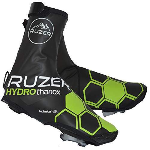 RUZER Ciclismo Copriscarpe Impermeabili Copriscarpe Antivento Resistenti alle intemperie Copriguanti Riflettenti in Neoprene Kevlar (Grande-XL: UK9/EU43 to UK12/EU47)