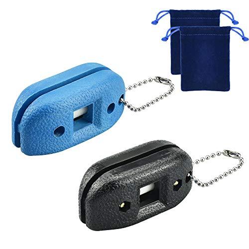 GOLRISEN 2 Stück Kufenschärfer Verstellbarer Schlittschuh Kantenschärfer Tragbar Schlittschuhschärfer mit Schlüsselkette und Packtasche Schleifstein Schleifwerkzeug für Eishockey Schuhe, Skate, Hockey