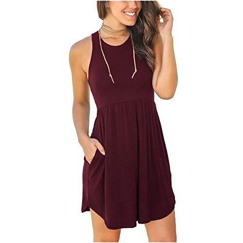 KCLONAZS Vestido de mujer de primavera y verano con cuello redondo sin mangas, color sólido (color: rojo vino, tamaño: pequeño)
