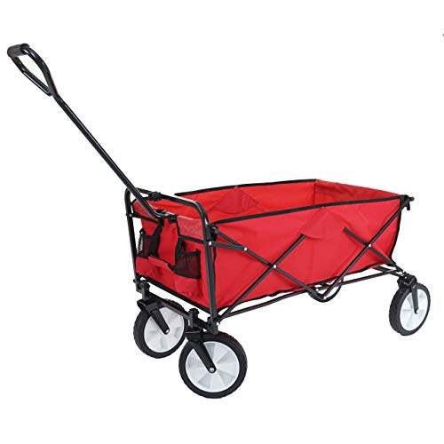 Mendler Faltbarer Bollerwagen HWC-E38, Handwagen Gartenwagen Transportwagen klappbar ~ ohne Dach/Hecktasche rot