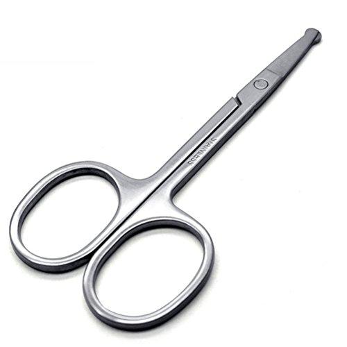 lurrose Tijeras de seguridad para el cabello Tijera de punta roma de acero inoxidable para el corte del cabello, aseo de cejas nariz bigote barba