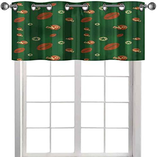 Cenefas de ventana composición con rayas verdes iconos de rugby gráfico de 42 pulgadas de ancho x 18 pulgadas de largo cenefas para dormitorio Windows Green Hunter Green Canela