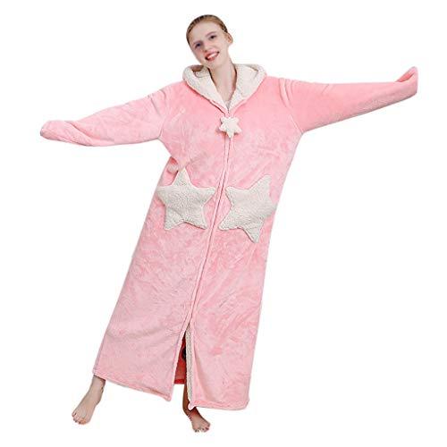 Susenstone Peignoir Femme Polaire A Capuche Hiver Chaud Peignoir avec Fermeture Eclair Microfibre Doux Robe De Chambre MatelasséE Longue Pyjama (L(EU38), Rose)