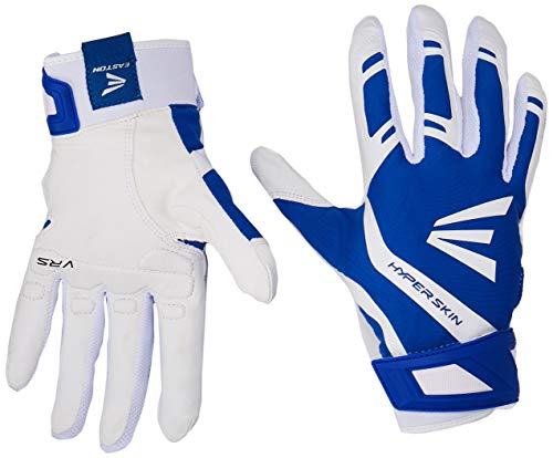 EASTON ZF7 VRS HYPERSKIN Fastpitch Softball Batting Glove | Pair | Womens | Medium | Royal / White | 2020 | VRS Pad Reduces Vibration | Flexible Hyperskin Lycra | Smooth Leather Palm | Neoprene Strap