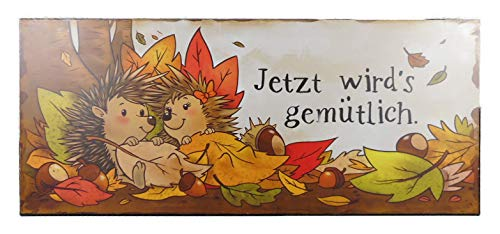 Blechschild Herbst Igel gemütlich 13 x 30 cm Blech Schild Deko GODE C64