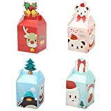 Caja de regalo de papel para manualidades, 12 piezas de 10,16 cm temática navideña, caja de caramelos de caricatura para Navidad, boda, cumpleaños, aniversario, decoración de fiesta
