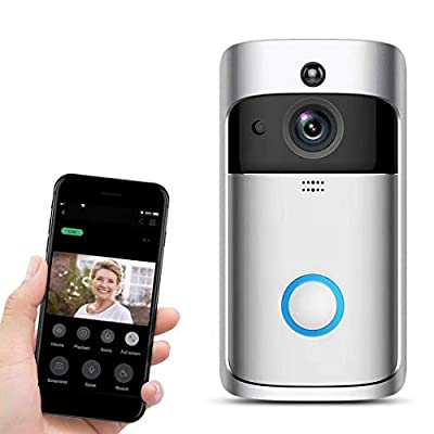 Shonlinen Home Wireless Remote Monitoring Real-Time Two-Way Talk Video Doorbell Remote Home Monitoring Systems Silver