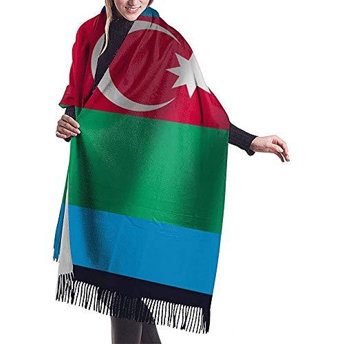 Elaine-Shop Großer Schal Aserbaidschan Realistische Wehende Flagge National Schal Wrap Winter Warmer Schal Cape Übergroße Schals