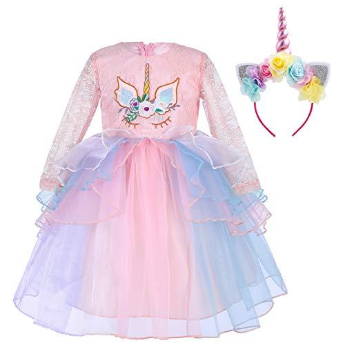 IWEMEK Princesa Unicornio Cumpleaños Bebé Niña Vestido de Manga Larga de Encaje de Tul Disfraz de Cosplay para Fiesta Carnaval Navidad Bautizo Comunión Boda 1-7 Años