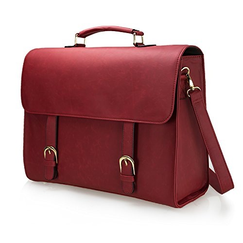 Estarer Women Laptop Satchel Briefcase 15.6' Large PU Leather Messenger Handbag for Work