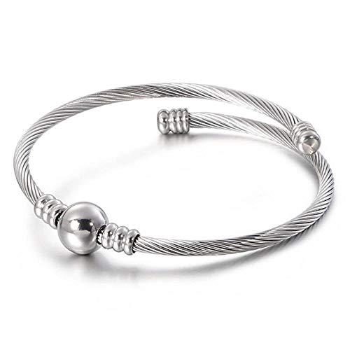 Bracelet Fil De Câble Ouvert en Acier Inoxydable pour Femmes Plaqué Argent Célèbre Bijoux Dames Bracelet Manchette Plaqué Argent