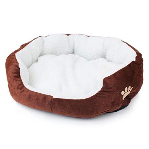 PENVEAT S/L Größe Haustier Hund Wärmebett Hundehütte weiches Material Nest Hundekörbe Herbst und Winter warme Hundehütte für Katzenwelpen, Kaffee, L, Frankreich
