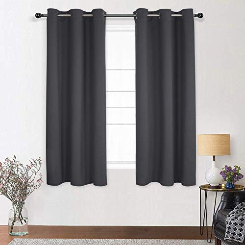 Shery Fenster-Vorhang mit Ösen, blickdicht, Thermo-Vorhang, Raumteilung, Sichtschutz, Schwarz 52X84