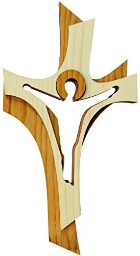 Kaltner Präsente Geschenkidee - 19 cm Wandkreuz Echtes Holz Kreuz aus Fichte Kruzifix Auferstehungskreuz für die Wand modern gefertigt im Grödner Tal Südtirol