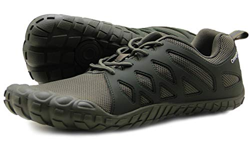 Oranginer Men's Barefoot Shoes Lightweight Athletic Trail Running Shoes Men Army Green Size 10