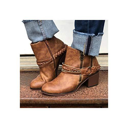 LXWS Botines para Mujer de tacón Medio Martin Boot de Gran tamaño con Cremallera Lateral Botas de Caballero para Motocicleta Zapatos Antideslizantes para Caminar al Aire Libre,Brown-38