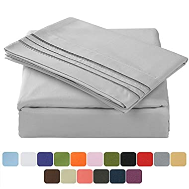 TasteLife 105 GSM Deep Pocket Bed Sheet Set Brushed Hypoallergenic Microfiber 1800 Bedding Sheets Wrinkle, Fade, Stain Resistant - 4 Piece(Grey,Queen)