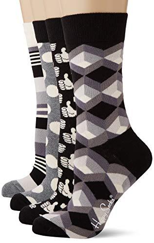 Happy Socks Damen Black and White Gift Box Socken, Mehrfarbig (Multicolour 900), 4/7 (Herstellergröße: 36-40)