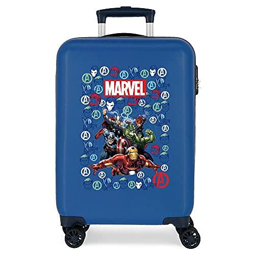 Marvel Avengers Team Valigia da cabina, 38 x 55 x 20 cm rigida ABS chiusura a combinazione laterale 34 2 kg 4 ruote doppie bagaglio a mano, Blu