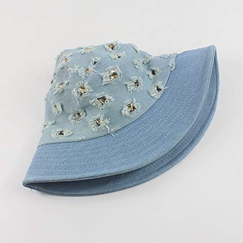 ERCZYO 2020 Doble Sombrero for el Sol Sombrero Vaquero Agujero Leopardo Sombrero al Aire Libre del Sol (Color : Light Blue, Size : M)