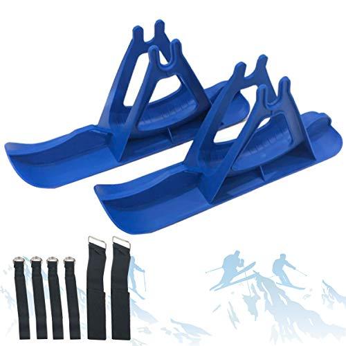 SCXLF 12in Tabla de Trineo Nieve, Freestyle Bicicleta de Equilibrio Piezas con 6 Correas, Tablas de Skooter Esquí para Uso en Nieve, Snowboard Esquí Andador Patinaje Regalo para Niños, Azul
