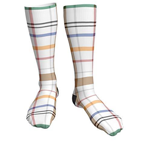 Colorido patrón de cuadros atléticos calcetines de tripulación para hombres y mujeres, cojines gruesos calcetines diarios para correr, vuelo, viajes, montañismo