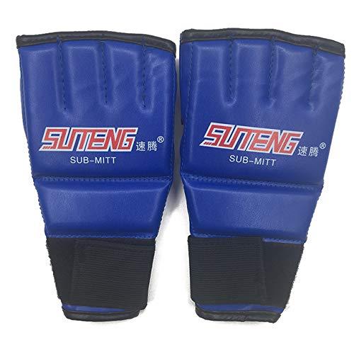 DJLHN1 Paar PU Leder Halbhandschuhe Fäustling MMA Muay Thai Training Stanzen Sparring Boxhandschuhe Golden/Weiß/Rot - Blau und Rot